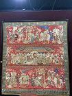 Large Framed Chinese  Red ground embroidered Figural Antique