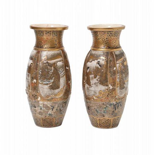 Pair of Japanese Satsuma Figural Vases.