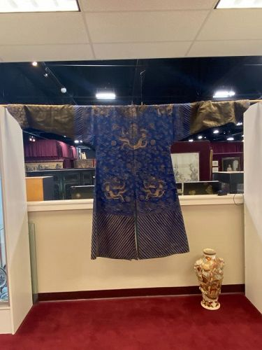 A Chinese Blue-Ground Gilt Embroidered silk Dragon Robe