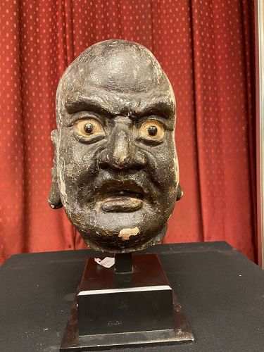 A large Chinese lacquer Lohan Head  Yuan to Ming Dynasty
