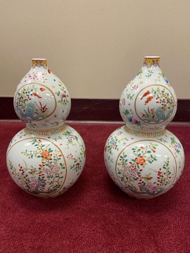 Pairof Chinese Famille Rose porcelain double gourd Vases. 10.5 Inches