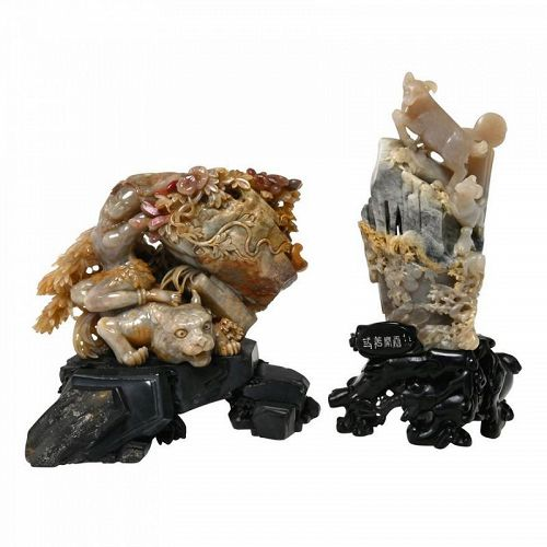 TWO CHINESE SOAPSTONE Chicken Blood stone  CARVINGS