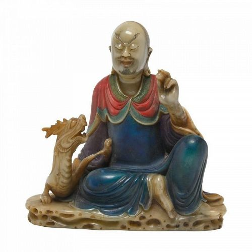 POLYCHROME PAINTED AND CARVED LOHAN WITH DRAGON