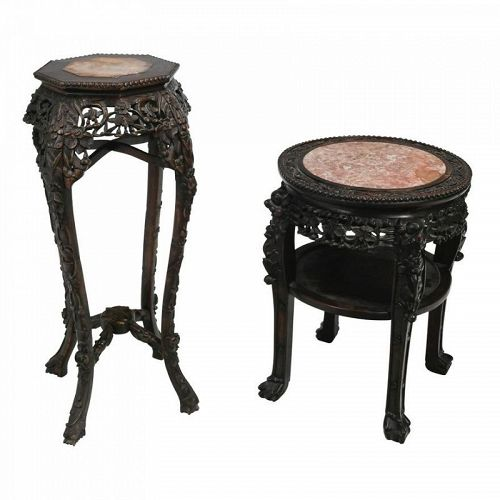 TWO CHINESE CARVED ROSEWOOD TABLES WITH MARBLE TOP