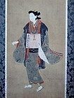Antique Japanese Ukiyoe Female Pilgrim Edo period 1668