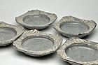 Set of 5 Antique Japanese Nezumi-Shino mukozuke plates