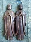 2 Antique Japanese Tohoku Sentaibutsu wooden Buddha statues