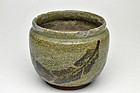 Antique Japanese Karatsu Hiire charcoal container Edo period