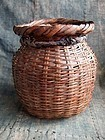 Vintage Japanese bamboo waist basket a