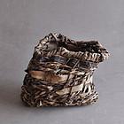 Radical vintage Japanese woven bark and vine basket 20c