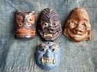 Set of 4 paper-mache Kyogen sagamen masks