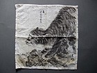 Tiger - Japanese black ink painting on handkerchief