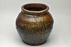 Japanese Echizen stoneware jar Momoyama period
