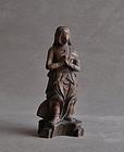 Japanese wood carving Kimkara Kongara-doji statue 19c