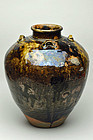 Antique Japanese Seto tea jar with four ears