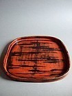 Japanese Kyo-Negoro lacquered tray Meiji period