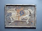 Running sacred horse - Japanese ema votive tablet Edo period 1812