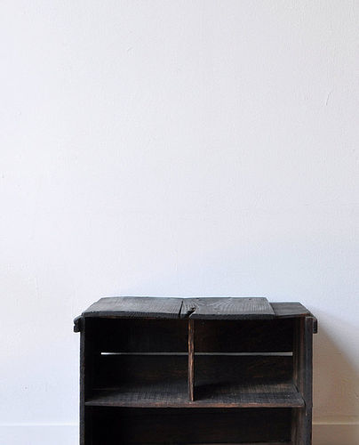 Raw black handmade wood shelf