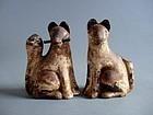 Pair of antique Japanese Inari fox clay dolls