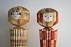 Origami Kokeshi - Pair of anonymous Japanese folk paper dolls
