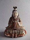 GODDESS � Japanese painted wood carving seated figure 14-15c