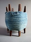 OBJECT - Vintage Japanese wooden spool with indigo blue thread