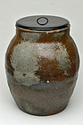 Old Tamba ware mizusashi jar 16th century