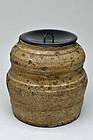 Old Shigaraki ware mizusashi jar 17-18th century