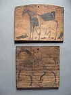 EMA OF HORSES - Two Japanese votive wooden tablets