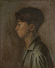 BOY - Anonymous portrait painting of Postwar Japan