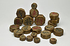 JANGGI - Antique wooden pieces of Korean chess Joseon dynasty