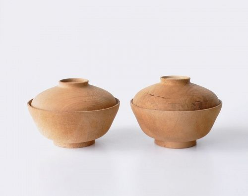 Unlacquered wood carving bowls with lids