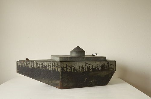 Custom-made tin ship green tea canister