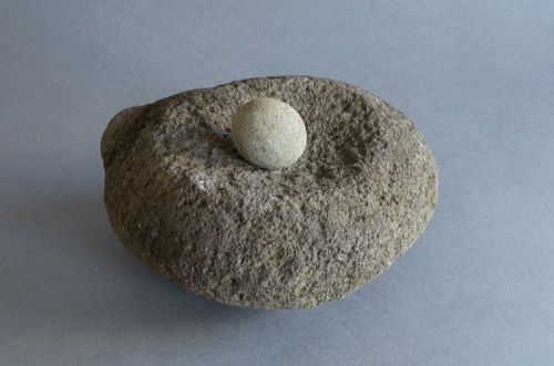 STONE MORTAR AND MILL STONE