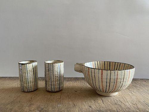 MUGIWARA LIPPED BOWL AND SAKE CUPS