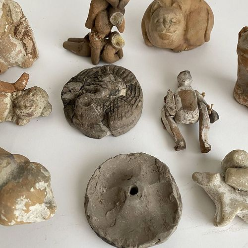 12 CLAY DOLLS SURVIVED FROM GREAT FIRE