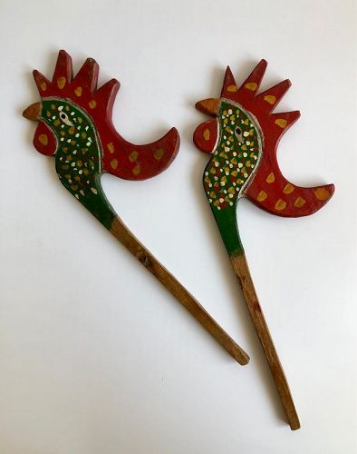 PAIR OF PAINTED WOODEN BIRDS FOR TEMPLE DECORATION