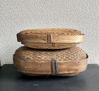 TWO LIDDED WILLOW BASKETS