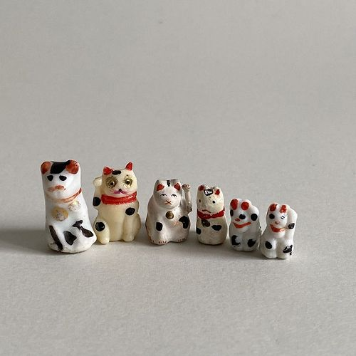 TINY LITTLE BECKONING CATS 6pc. C