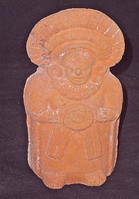 A FINELY MOLDED JAINA ISLAND MAYA RATTLE FIGURE