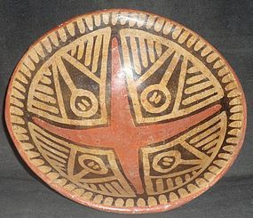 A BEAUTIFULLY EXECUTED POLYCHROME GEOMETRIC BOWL FROM ECUADOR
