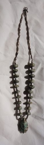 AN  ANCIENT MAYA JADE BEAD AND NAVAJO SILVER NECKLACE
