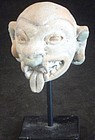 A FANTASTIC JAMA-COAQUE DEMON HEAD FRAGMENT FROM ECUADOR