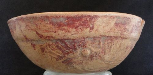 A COMPACT MAYA BOWL WITH RAISED MOTIF