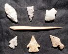 SIX LARGE MIMBRES/MOGOLLON ARROWHEADS AND A DELICATE BONE AWL