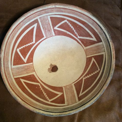 "A REAL ""EYE POPPER""LARGE RED AND WHITE MIMBRES GEOMETRIC BOWL   ;"