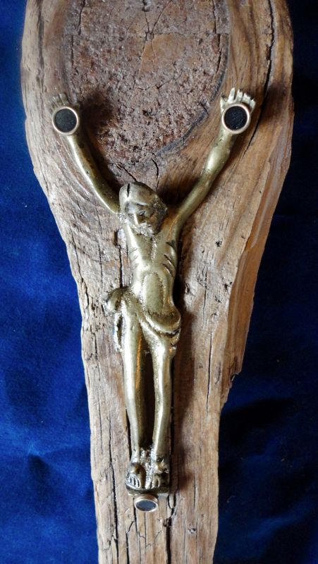 A ONE-OF-A-KIND CRUCIFIX COMBINING VARIOUS MATERIALS