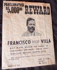 ONE OF THREE ORIGINAL PANCHO VILLA POSTERS / COLUMBUS POLICE CHIEF