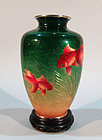 Ando Shippo Ginbari Cloisonne Vase, Gold Fish