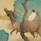 Large Antique Japanese Silk Painting, Ueda Manshu